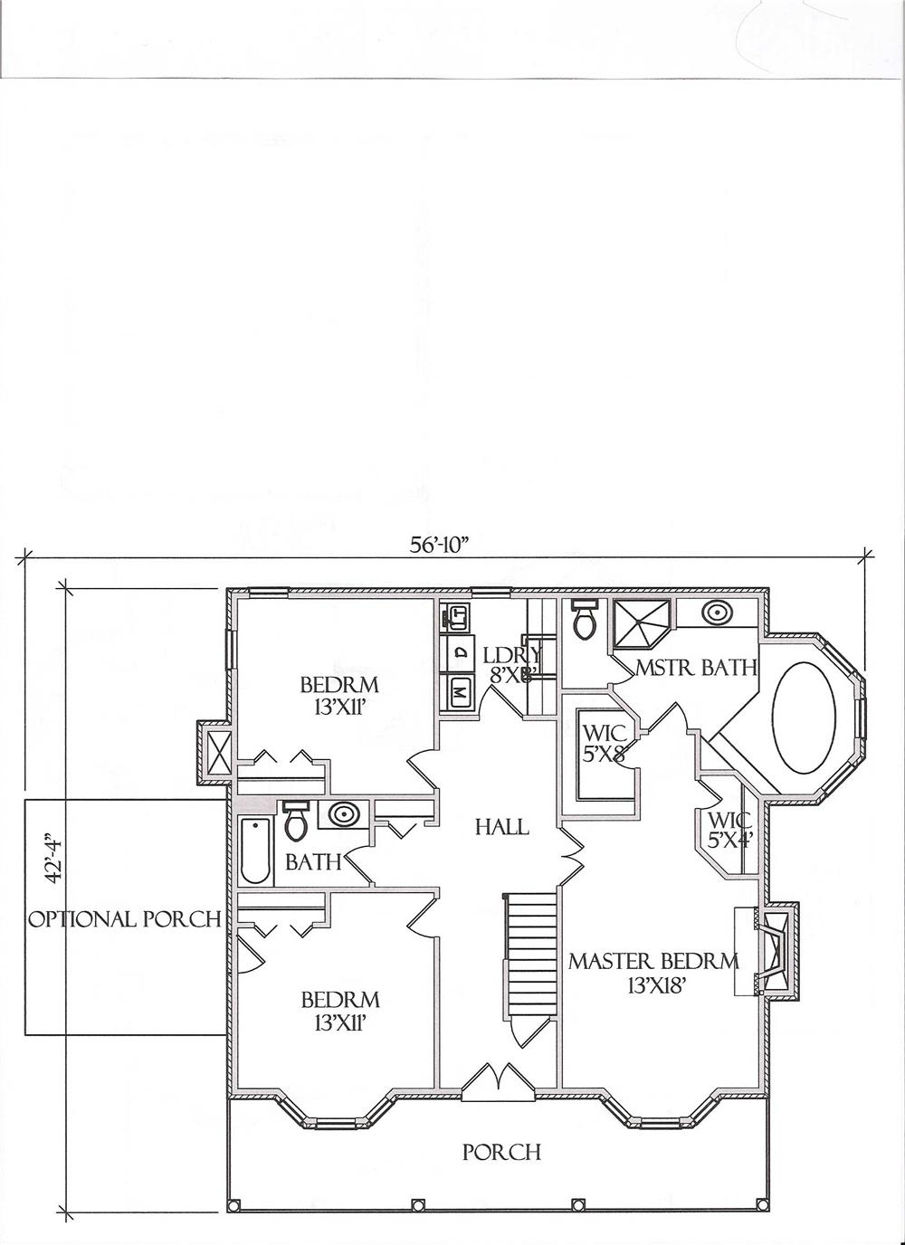 Floor Plan Second Story for Country House Plans # CR-509-A