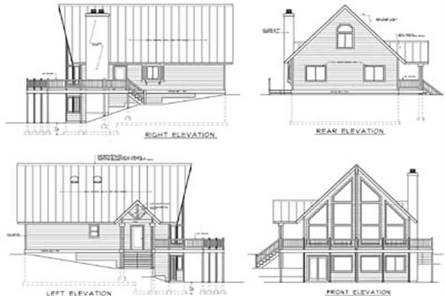 Home Plan Rear Elevation of this 3-Bedroom,1557 Sq Ft Plan -119-1000