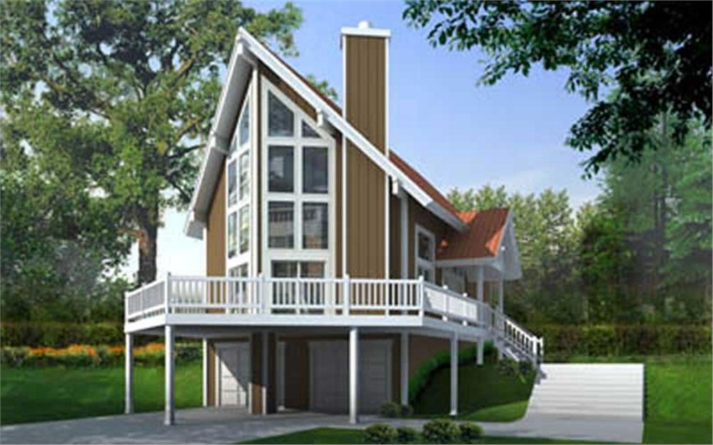 Front elevation of Contemporary home (ThePlanCollection: House Plan #119-1004)