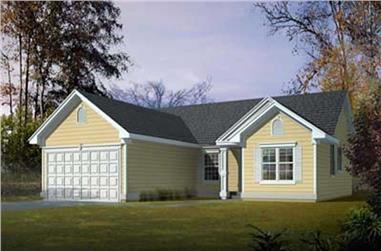 3-Bedroom, 1443 Sq Ft Ranch Home Plan - 119-1010 - Main Exterior