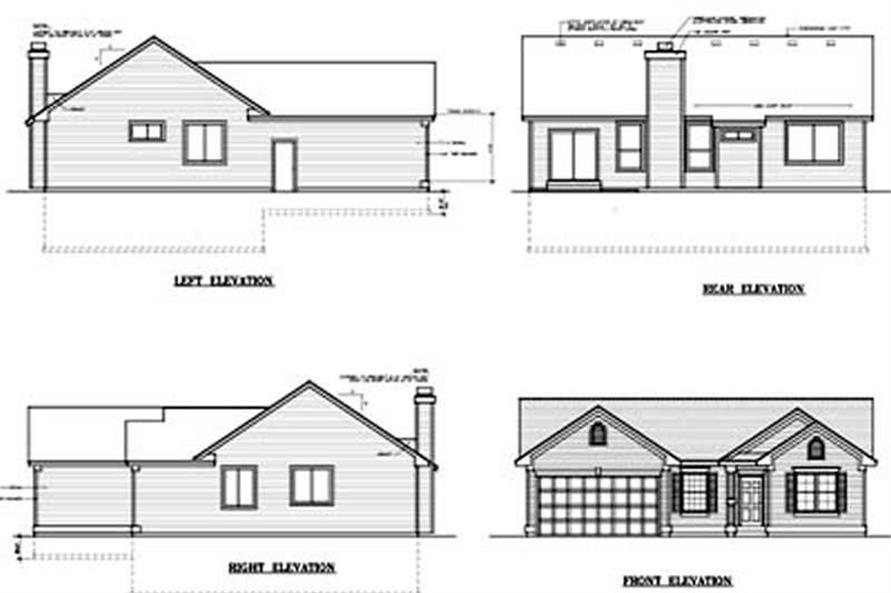 This image shows the rear elevation of the home plan.