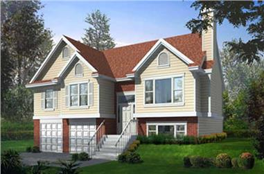 3-Bedroom, 1291 Sq Ft Multi-Level House Plan - 119-1011 - Front Exterior