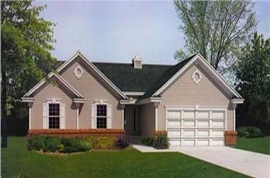 3-Bedroom, 1453 Sq Ft Ranch House Plan - 119-1012 - Front Exterior