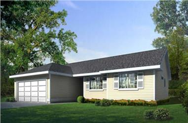 3-Bedroom, 1252 Sq Ft Ranch House Plan - 119-1013 - Front Exterior