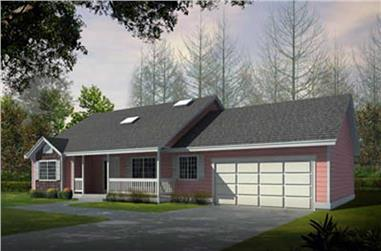 2-Bedroom, 1636 Sq Ft Country Home Plan - 119-1015 - Main Exterior