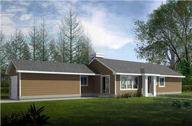 3-Bedroom, 1193 Sq Ft Ranch Home Plan - 119-1016 - Main Exterior