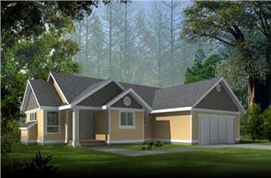 3-Bedroom, 1352 Sq Ft Country House Plan - 119-1018 - Front Exterior
