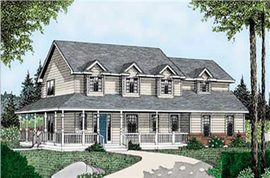 3-Bedroom, 2184 Sq Ft Country House Plan - 119-1019 - Front Exterior