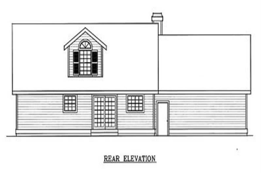 Home Plan Rear Elevation of this 3-Bedroom,1757 Sq Ft Plan -119-1023