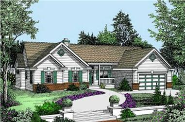 Front elevation of Ranch home (ThePlanCollection: House Plan #119-1025)