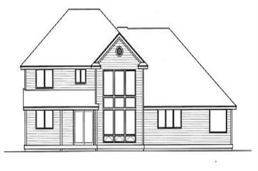 Home Plan Rear Elevation of this 4-Bedroom,2995 Sq Ft Plan -119-1031