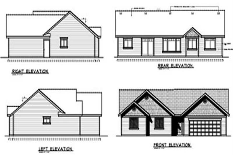 Home Plan Rear Elevation of this 3-Bedroom,1437 Sq Ft Plan -119-1032