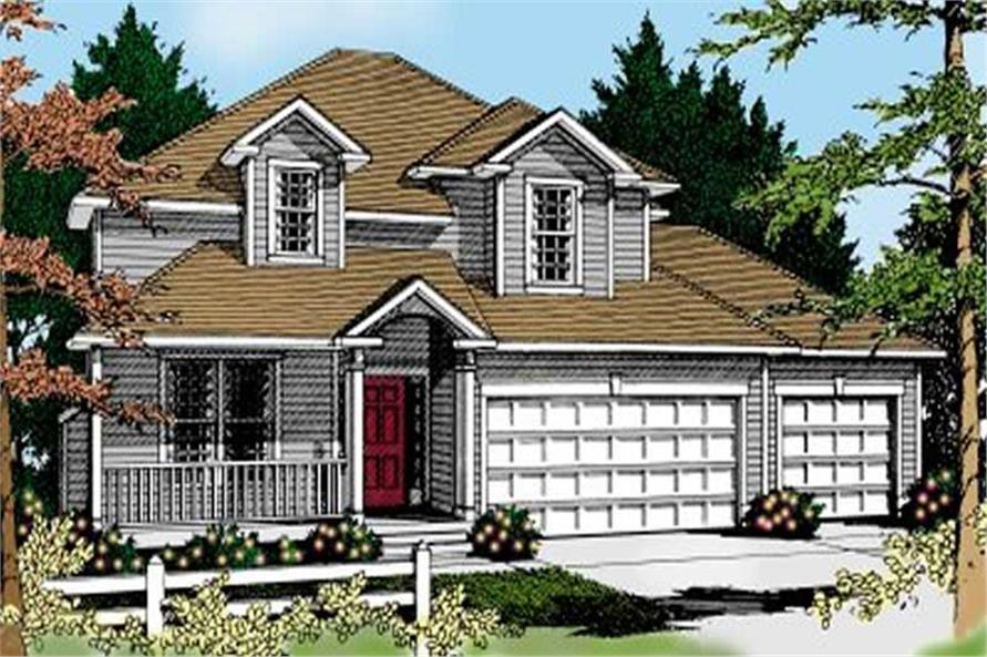 4-Bedroom, 2814 Sq Ft Traditional House Plan - 119-1034 - Front Exterior