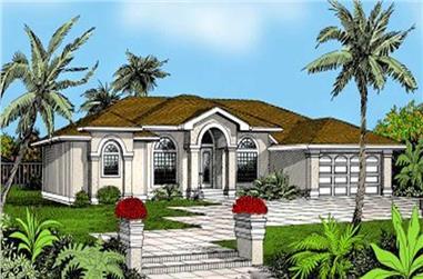4-Bedroom, 2710 Sq Ft Mediterranean House Plan - 119-1036 - Front Exterior