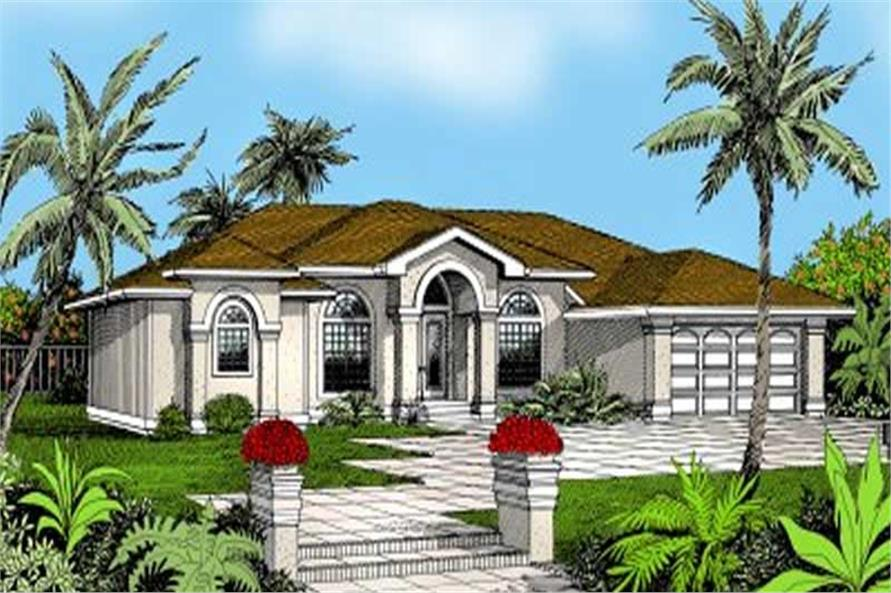 4-Bedroom, 2710 Sq Ft Mediterranean House Plan - 119-1036 - Front Exterior