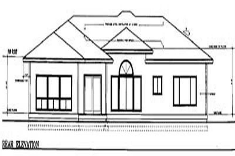 Home Plan Rear Elevation of this 4-Bedroom,2710 Sq Ft Plan -119-1036