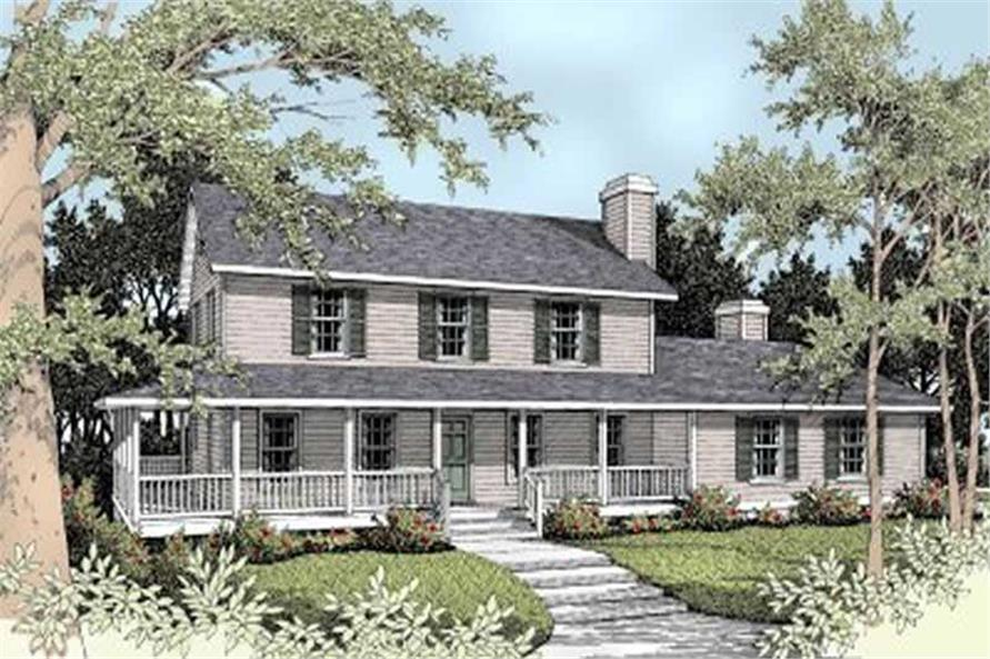 5-Bedroom, 2561 Sq Ft Country House Plan - 119-1037 - Front Exterior