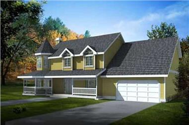 4-Bedroom, 2524 Sq Ft Country House Plan - 119-1038 - Front Exterior