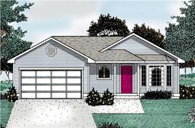 3-Bedroom, 1018 Sq Ft Ranch House Plan - 119-1042 - Front Exterior