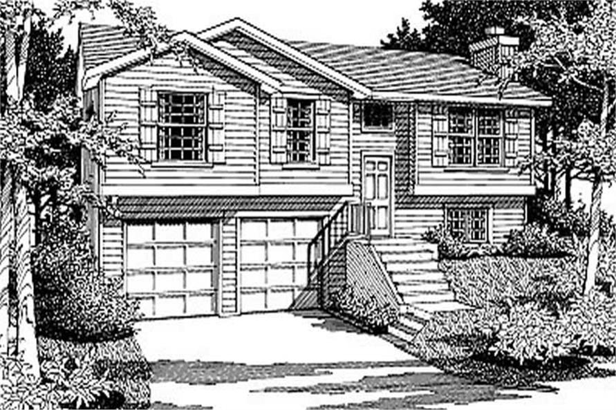 4-Bedroom, 1183 Sq Ft Multi-Level House Plan - 119-1048 - Front Exterior