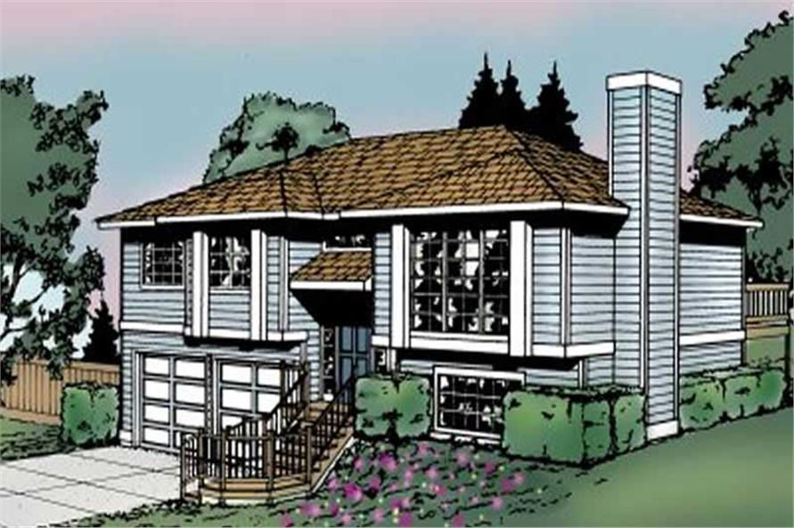 3-Bedroom, 1143 Sq Ft Multi-Level House Plan - 119-1050 - Front Exterior