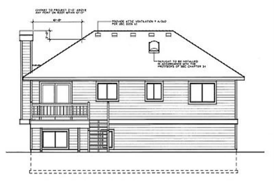 Home Plan Rear Elevation of this 3-Bedroom,1143 Sq Ft Plan -119-1050