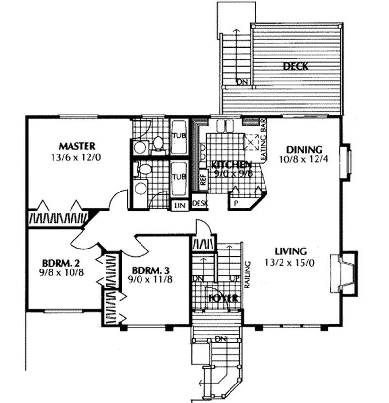 Multi level home plan 3 bedrms 3 5 baths 1143 sq ft for Multi level floor plans