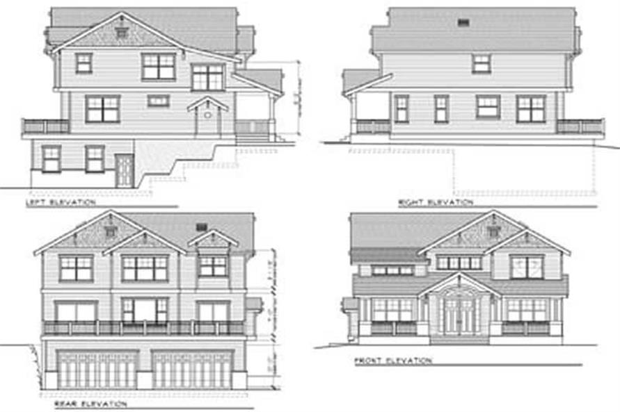 Home Plan Rear Elevation of this 4-Bedroom,2615 Sq Ft Plan -119-1051