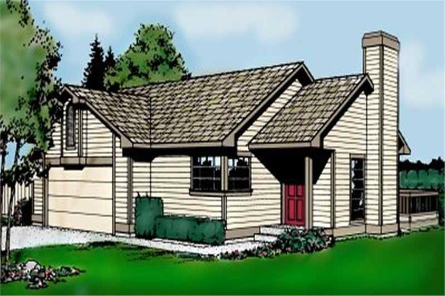 3-Bedroom, 1072 Sq Ft Ranch House Plan - 119-1052 - Front Exterior