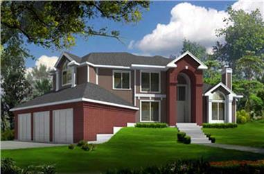 4-Bedroom, 2696 Sq Ft Contemporary House Plan - 119-1053 - Front Exterior