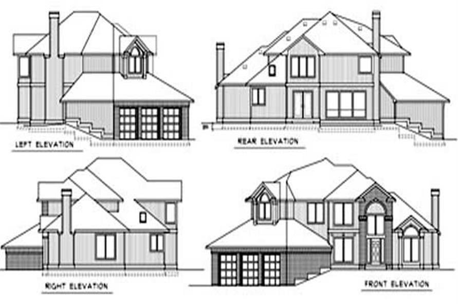 Home Plan Rear Elevation of this 4-Bedroom,2696 Sq Ft Plan -119-1053