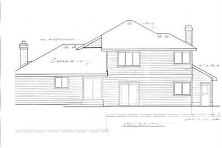 Home Plan Rear Elevation of this 4-Bedroom,2426 Sq Ft Plan -119-1055