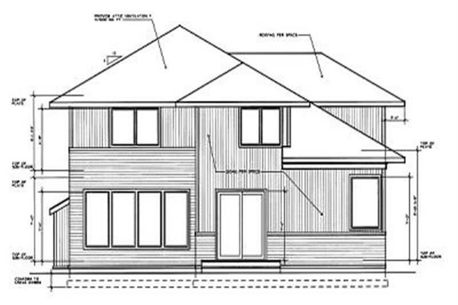 Home Plan Rear Elevation of this 3-Bedroom,2503 Sq Ft Plan -119-1056