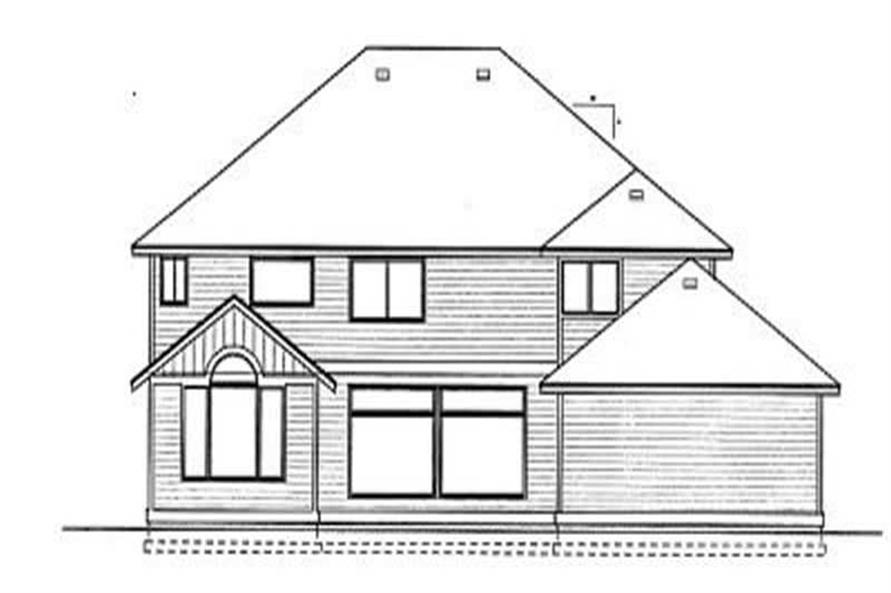 Home Plan Rear Elevation of this 4-Bedroom,3433 Sq Ft Plan -119-1057