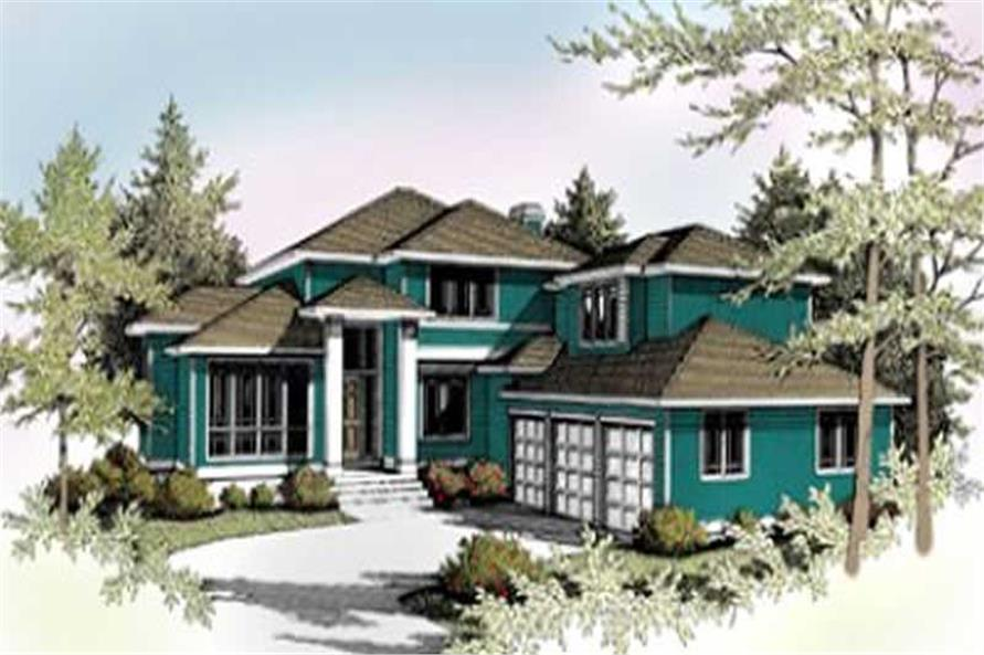 4-Bedroom, 2937 Sq Ft Contemporary House Plan - 119-1059 - Front Exterior