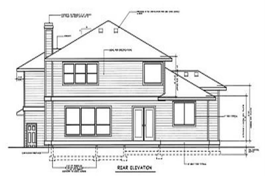 Home Plan Rear Elevation of this 4-Bedroom,2937 Sq Ft Plan -119-1059
