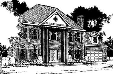 3-Bedroom, 2874 Sq Ft Colonial House Plan - 119-1060 - Front Exterior