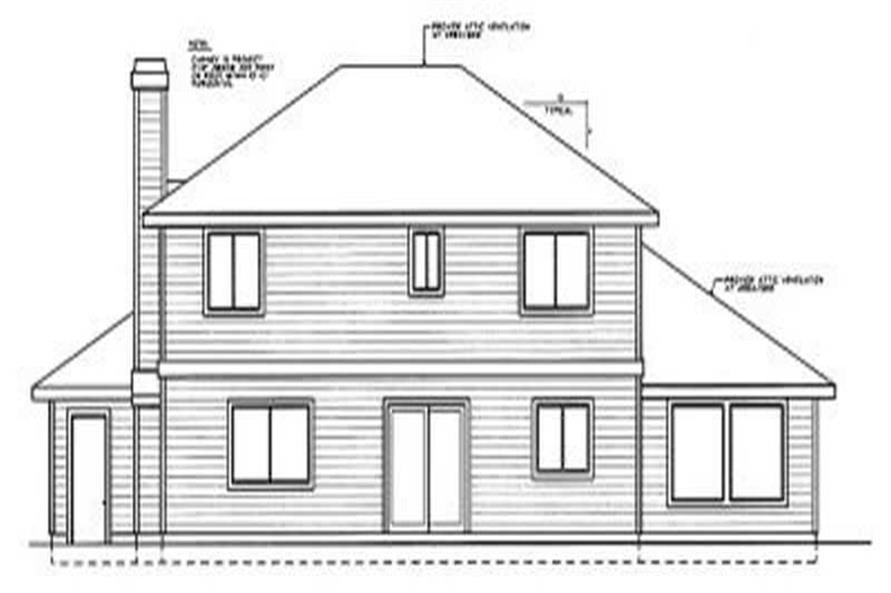 Home Plan Rear Elevation of this 4-Bedroom,2185 Sq Ft Plan -119-1063