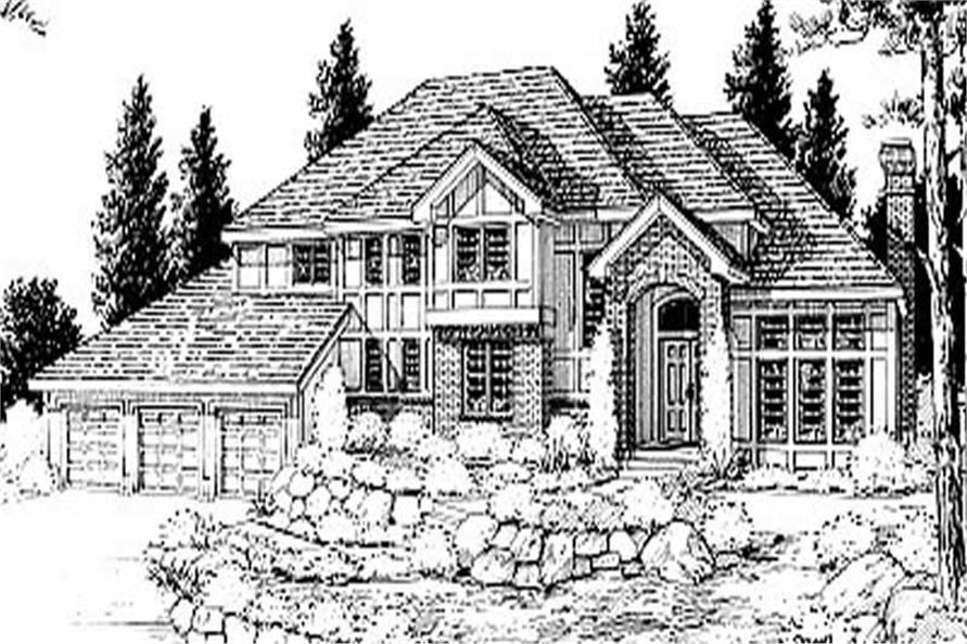 Front elevation of European home (ThePlanCollection: House Plan #119-1064)