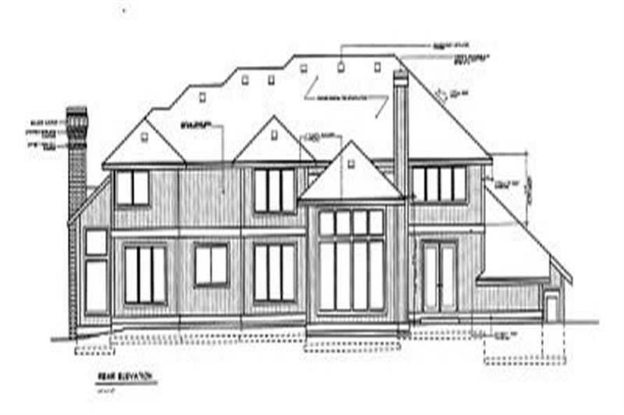 Home Plan Rear Elevation of this 4-Bedroom,4130 Sq Ft Plan -119-1064