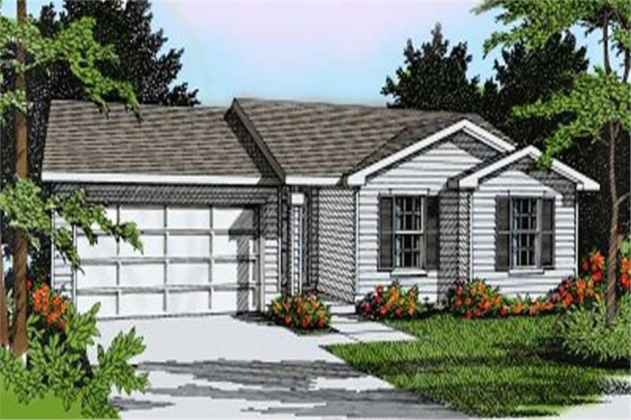 3-Bedroom, 1135 Sq Ft Ranch House Plan - 119-1065 - Front Exterior