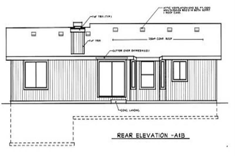 Home Plan Rear Elevation of this 3-Bedroom,1135 Sq Ft Plan -119-1065