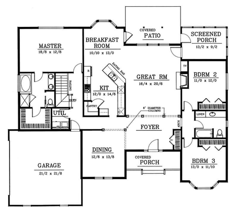 Contemporary floor plan 3 bedrms 2 baths 2200 sq ft for 2200 sq ft house plans