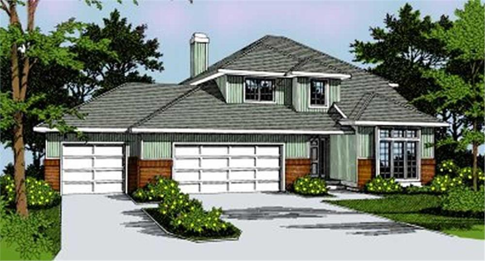 Front elevation of Contemporary home (ThePlanCollection: House Plan #119-1070)