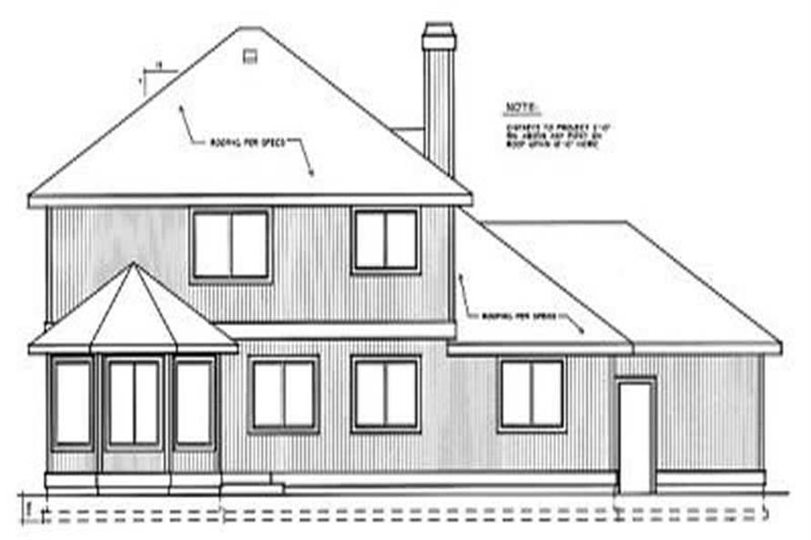 Home Plan Rear Elevation of this 5-Bedroom,2541 Sq Ft Plan -119-1070