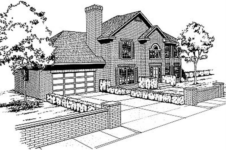 Front Elevation of this 3-Bedroom,2052 Sq Ft Plan -2052