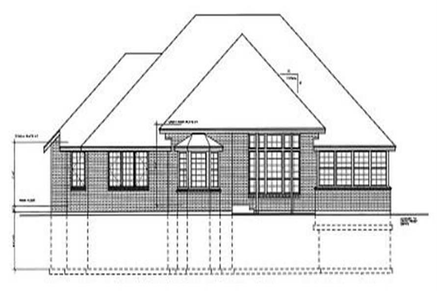 Home Plan Rear Elevation of this 4-Bedroom,2331 Sq Ft Plan -119-1073