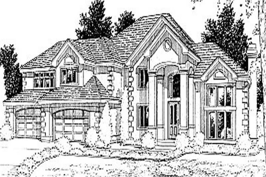 European House plans 119-1080 front rendering.