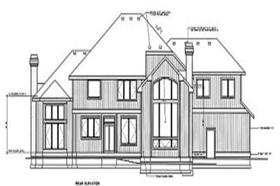 Home Plan Rear Elevation of this 4-Bedroom,4545 Sq Ft Plan -119-1080