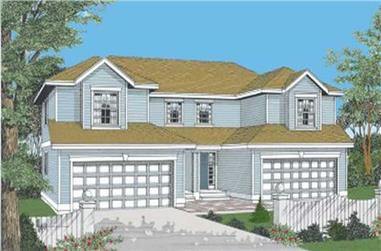 3-Bedroom, 1398 Sq Ft Multi-Unit House Plan - 119-1082 - Front Exterior